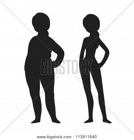 Fat And Slim Woman Silhouette
