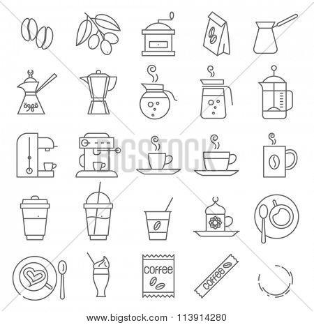 Thin line coffee vector icon set