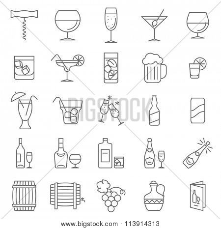 Thin line wine and beverage vector icon set