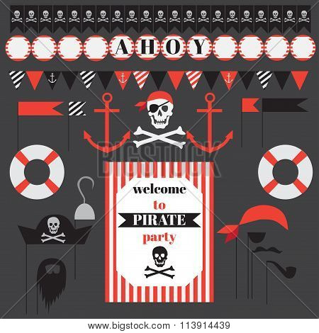 Printable Set Of Vintage Pirate Party Elements.