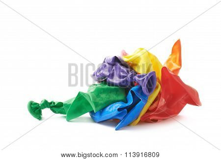 Pile of burst air balloons isolated