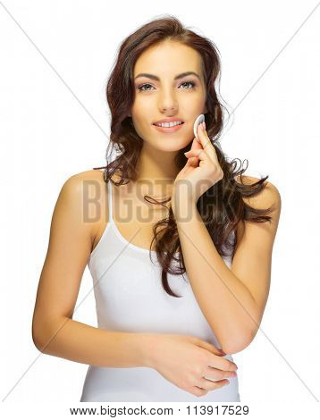Young girl with wadded disc isolated
