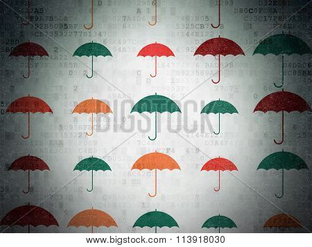 Privacy concept: Umbrella icons on Digital Paper background