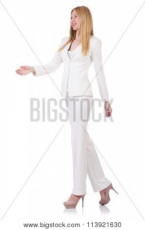 Elegant blond businesslady isolated on white