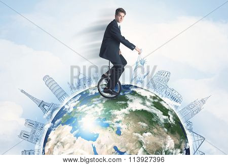 Man riding unicycle around the globe with major cities concept