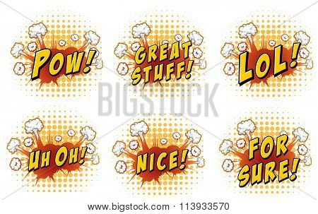 Expression words on cloud explosion illustration