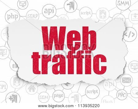 Web development concept: Web Traffic on Torn Paper background