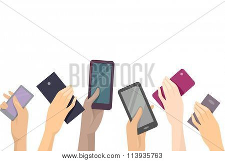 Illustration of Hands Raising Different Models of Mobile Phones