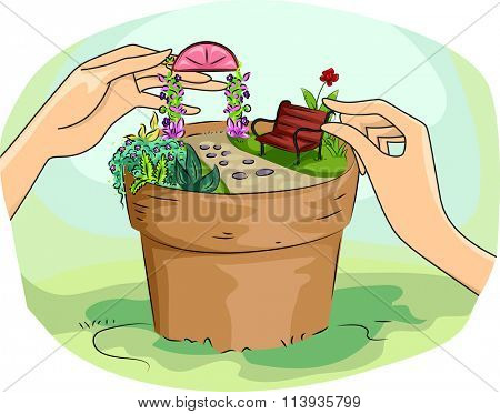 Illustration of a Woman Building a Miniature Garden in a Pot