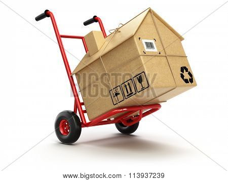 Delivery or moving houseconcept. Hand truck with cardboard box as home isolated on white. 3d