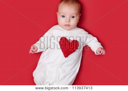 Baby On Red Background