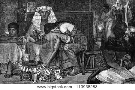 The Tenth Plague of Egypt, Alma Tadema table, vintage engraved illustration. Magasin Pittoresque 1880.