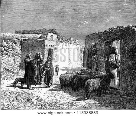 Arab homes in Edfu, Egypt, vintage engraved illustration. Magasin Pittoresque 1880.