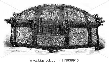 Reliquary of the Cathedral of Cammin (Pomerania), vintage engraved illustration. Magasin Pittoresque 1880.