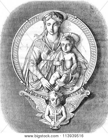 Bas-relief of Mino da Fiesole, the National Museum of the Bargello in Florence, vintage engraved illustration. Magasin Pittoresque 1876.