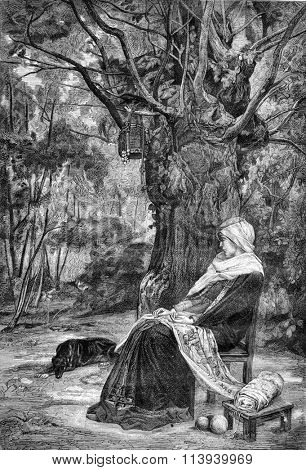 Reverie, painting by Maignan, vintage engraved illustration. Magasin Pittoresque 1876.