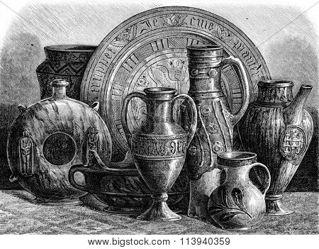 Glazed pottery of the fourteenth and fifteenth centuries, vintage engraved illustration. Magasin Pittoresque 1873.