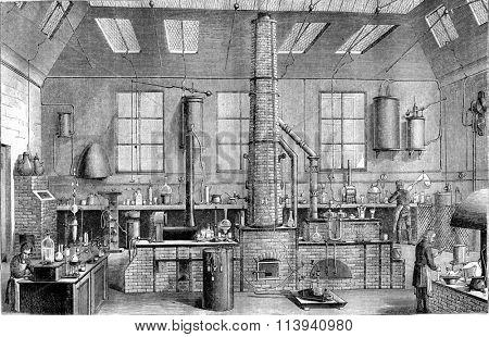 Chemistry Laboratory at the Ecole Normale in Paris, vintage engraved illustration. Magasin Pittoresque 1870.
