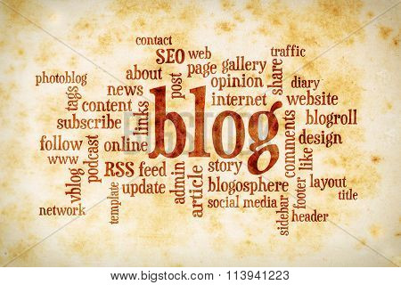 cloud of words or tags related to blogging and blog design on a  vintage stained paper