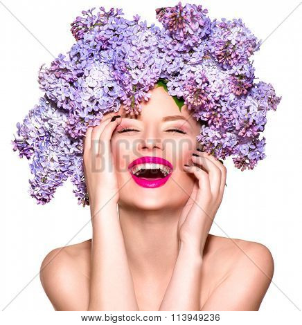 Beauty fashion model Girl with Lilac Flowers Hair Style. Beautiful Model woman with Blooming flowers on her head. Nature Hairstyle. Summer. Holiday Creative Makeup. Make up. Vogue Style poster