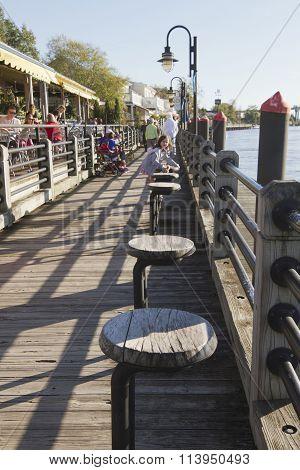 Tourist Attraction Water Street Boardwalk In Wilminton, Nc