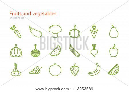 Set of line fruits and vegetables icons. Stock vector.