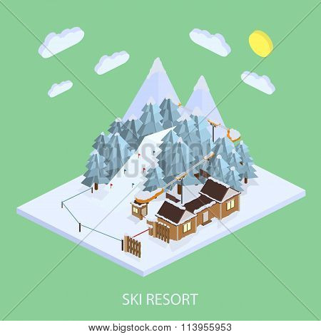 Ski Resort. Mountain landscapes. Vector isometric illustrations.