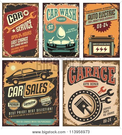 Vintage car service metal signs and posters vector.