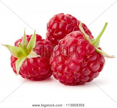 ripe raspberries isolated on white background close up