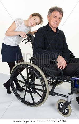 Girl Is Friendly And Shoves Man In Wheelchair