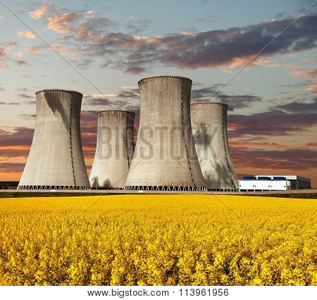 Evening Colored View Of Nuclear Power Plant Dukovany