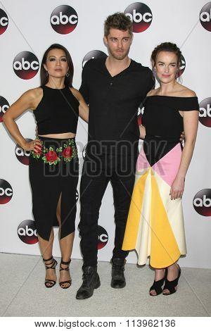 LOS ANGELES - JAN 9:  Ming-Na Wen, Luke Mitchell, Elizabeth Henstridge at the Disney ABC TV 2016 TCA Party at the The Langham Huntington Hotel on January 9, 2016 in Pasadena, CA