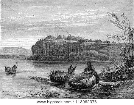 Mandan village and boats, vintage engraved illustration. Magasin Pittoresque 1870.