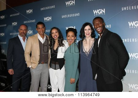 LOS ANGELES - JAN 8:  Underground Cast at the Underground WGN Winter 2016 TCA Photo Call at the The Langham Huntington Hotel on January 8, 2016 in Pasadena, CA