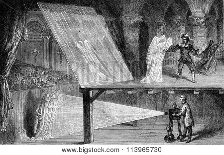 Optical illusions, Spectra, vintage engraved illustration. Magasin Pittoresque 1869.