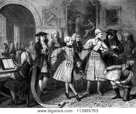 Morning of a young prodigy, London, 1734, vintage engraved illustration. Magasin Pittoresque 1869.