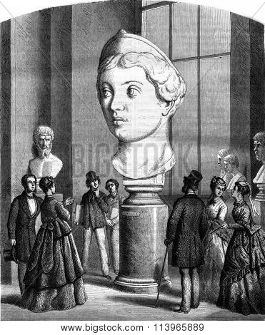 Louvre Museum, Sculpture, Colossal head of Lucilla, Roman empress, vintage engraved illustration. Magasin Pittoresque 1869.