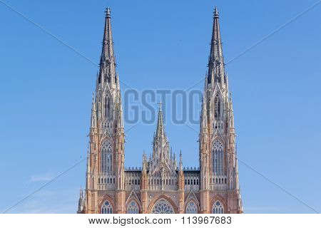 Part of the facade of the parish of Nuestra Se?ora de los Dolores which is the main catholic church in the city of La Plata capital of the province of Buenos Aires in Argentina and one of the largest in Latin America. poster
