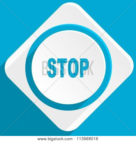 stop blue flat design modern icon for web and mobile app
