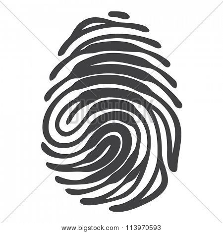 Finger print with access keyhole shape. Security concept. Vector fingerprint isolated on white background