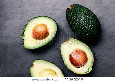..fresh Green Avocado  Over Wooden Table With Copy Space. Avocado Background Top View Image.