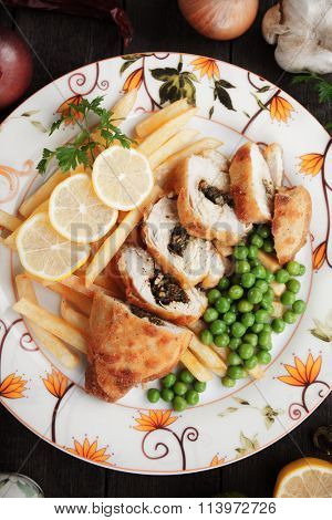 Chicken kiev stuffed with butter and herbs
