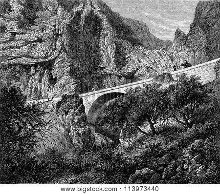 The St. Louis Bridge, Alpes Maritimes, vintage engraved illustration. Magasin Pittoresque 1867.