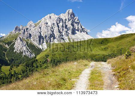 Crode Dei Longerin With Rural Road - Alpi Carniche