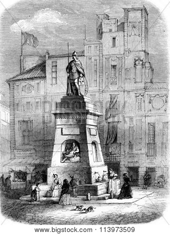 Fountain of Old-Man Fuente del Viejo, on the Rambla in Barcelona, vintage engraved illustration. Magasin Pittoresque 1857.