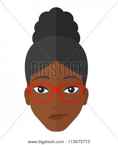 Envious woman in glasses.