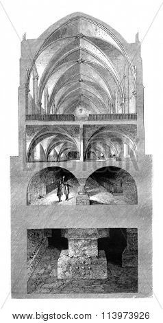 Lycee Napoleon, Refectoire Cup, the kitchen, the cellars, the Catacomb, vintage engraved illustration. Magasin Pittoresque 1857.