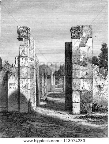 House Pansa, in Pompeii in its current state, vintage engraved illustration. Magasin Pittoresque 1857.