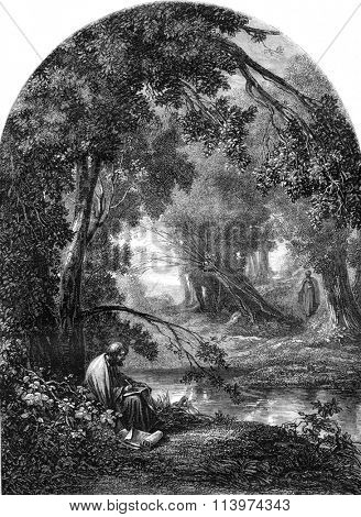 Democritus landscape, vintage engraved illustration. Magasin Pittoresque 1857.