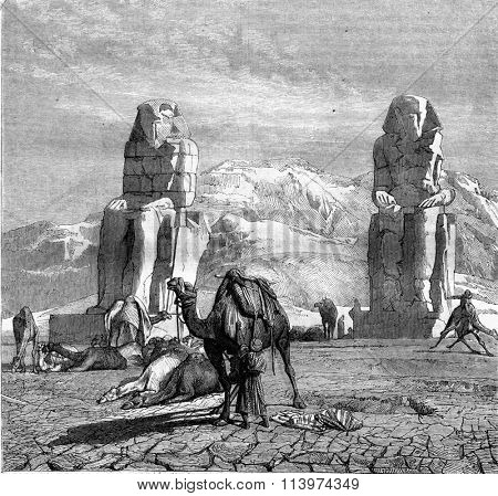 The statues of Memnon, vintage engraved illustration. Magasin Pittoresque 1857.